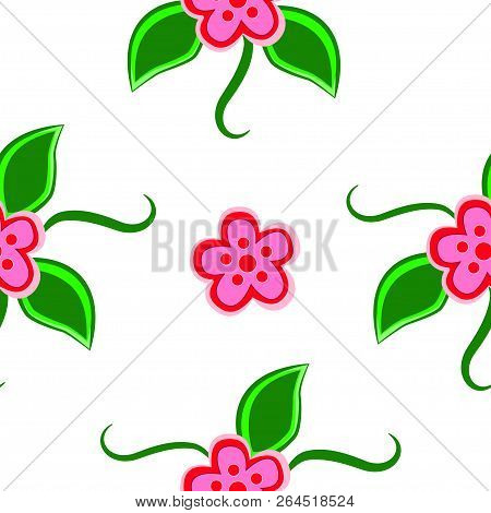Seamless Pattern Of Blooming Flowers Isolated On A White Background.