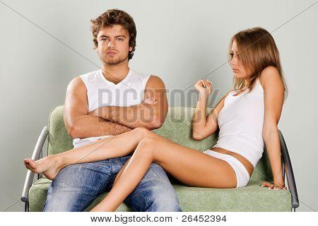 Young couple having a quarrel
