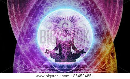 Abstract Multicolored Artistic Meditation Field Of Energy With A Man Sitting In The Middle Backgroun
