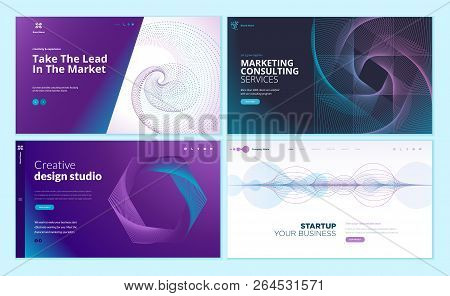Set Of Web Page Design Templates With Abstract Background For Business, Marketing, Design Agency. Mo
