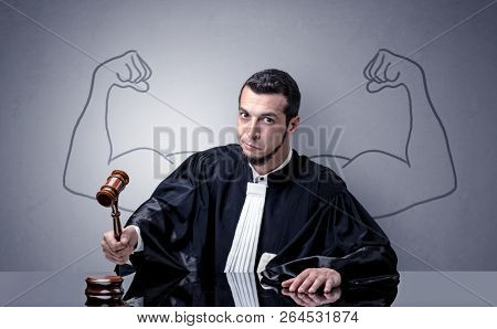 Young judge with brawny design on his back