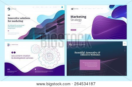 Set Of Web Page Design Templates With Abstract Background For Marketing, Seo, Website Design. Modern