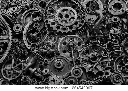 Steampunk Texture, Backgroung With Mechanical Parts, Gear Wheels, Steam Punk Cogwheels, Heap Of Auto