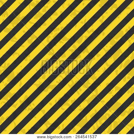 Grunge Black And Orange Surface As Warning Or Danger Pattern Old. Striped Warning. Vector Stock Illu