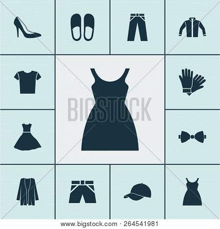Dress Icons Set With Baseball Cap, Glove, Fashionable And Other Pants Elements. Isolated Vector Illu