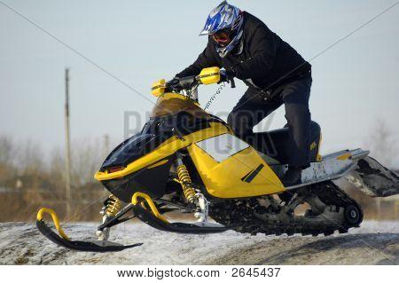 Flying Of Ski Mobile Rider