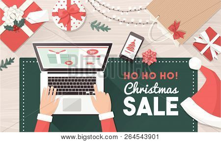 Santa Ordering Christmas Gifts Online And Connecting With His Laptop: Christmas Holiday Sale And Onl