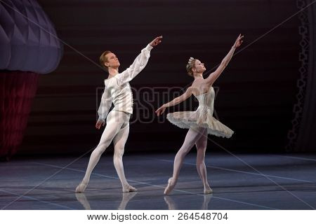 ST. PETERSBURG, RUSSIA - DECEMBER 16, 2015: Actors in a scene of the ballet The Nutcracker on the stage of Mikhailovsky theater during the closing ceremony of 4th Saint-Petersburg Cultural Forum