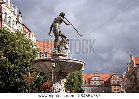 Neptune Fountain At Dlugi Targ Square In Gdansk, Poland.
