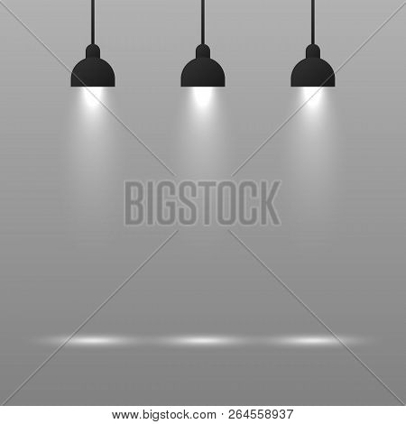 Background With Lighting Lamp. Empty Space For Your Text Or Object. Vector Stock Illustration.