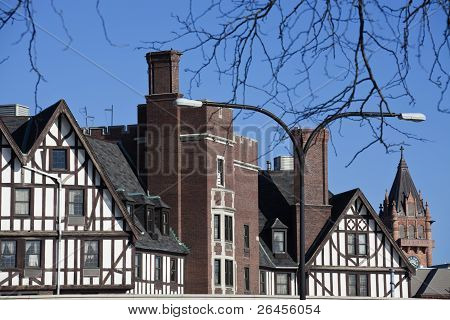 German style architecture in Urbana-Champaign Illinois. Old courthouse far right. poster