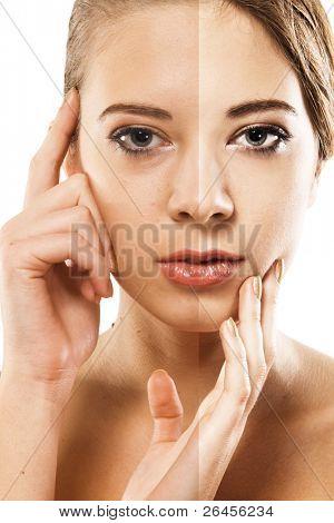 Woman's face correction. Closeup portrait half-and-half