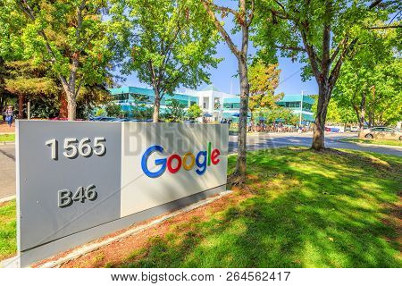 Mountain View, California, United States - August 13, 2018: Google Sign At Google Mountain View Camp