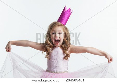 Beautiful little princess girl in crown and pink dress isolated on white background