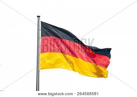 German flag waving on silver flagpole. White background, close up view, space.