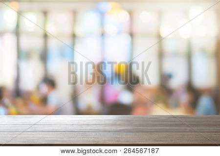 Wood Table Top Background On Blurred Customer At Restaurant Or Cafe Coffee Shop Blur Background Use