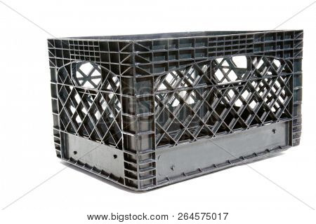 plastic milk crate. isolated on white. room for text. food or shipping crate. storage box.