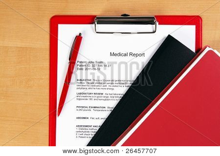 Medical report on a red holder