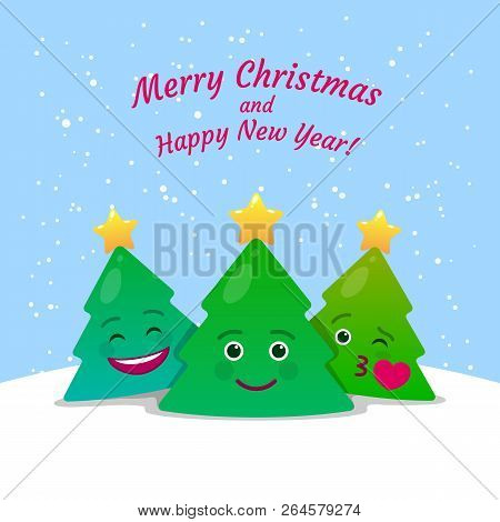 Merry Christmas And Happy New Year Greeting Card. Xmas Congratulation Postcard In Cartoon Style. Hap