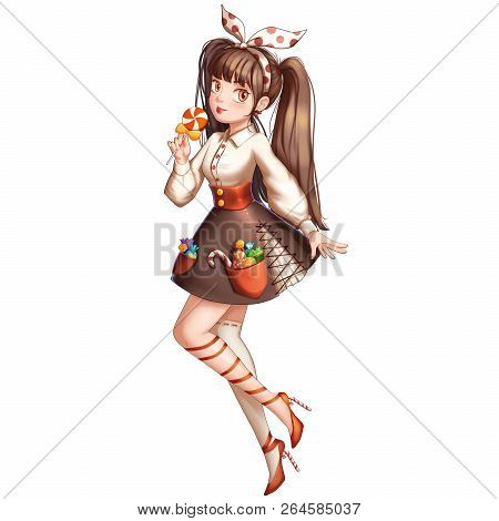 Candy Girl With Anime And Cartoon Style. Video Game Digital Cg Artwork, Concept Illustration, Realis