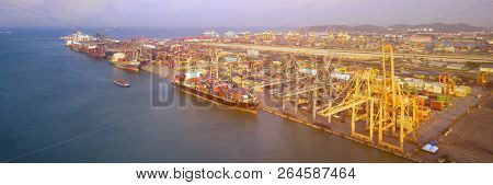 Large Container Shipping Boat At Shipping Yard Main Transportation Of Cargo Container Shipping In Co