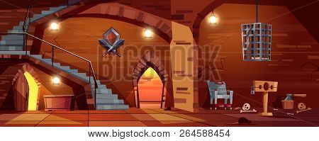 Vector cartoon background with medieval torture hall, Romanesque room of executioner. Prison in cellar with stairs, bones on the floor. Scaffold, torment chair and metal hanging cage for punishment. poster