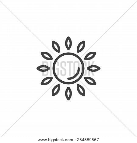 Sun Outline Icon. Linear Style Sign For Mobile Concept And Web Design. Sunlight Simple Line Vector I