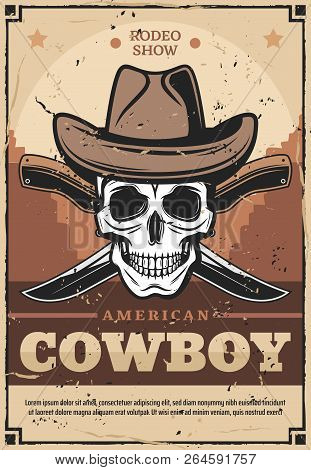 American Cowboy Wild West Vintage Vector Design. Skull In Leather Hat With Crossed Knives And Wild W