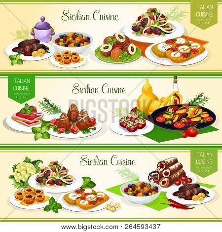 Sicilian Cuisine Banners For Italian Restaurant Menu Design. Vegetable Pasta, Tomato Cheese Bruschet