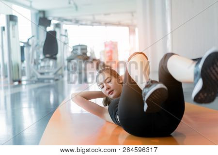 Woman Exercise Sit-up Workout Building Sixpack Abs At Fitness Gym Training For Healthy Lifestyle Str