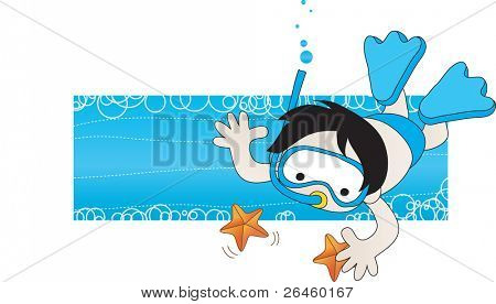 Boy swimming under water,
