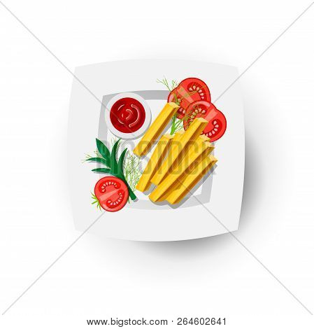 French Fries Icon On White Plate With Tomatoes And Greens. French Fries Vector Illustration, Cartoon
