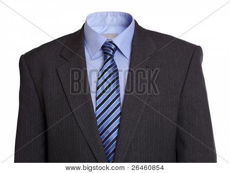 Empty business suit concept for invisible, faceless or anonymous man