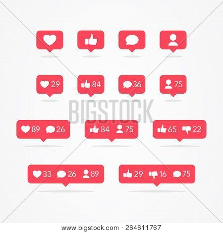 Vector Tooltip Speech Bubble Like, Unlike, Follower, Comment, Notification, Heart, User Icon Set. So