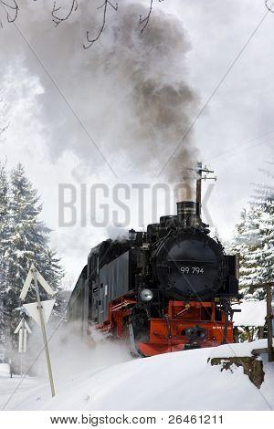 steam locomotive, Oberwiesenthal - Cranzhal (Fichtelbergbahn), Germany
