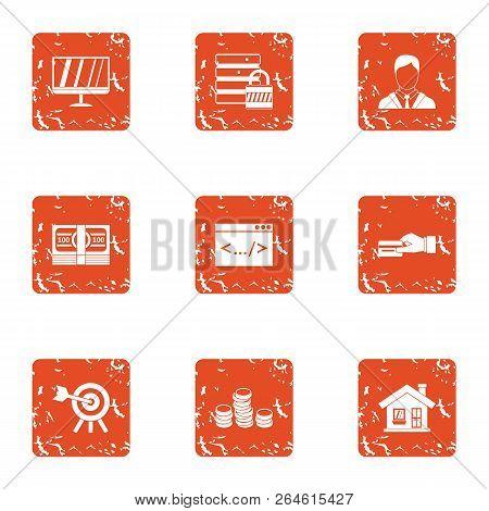 Monetary Eventuality Icons Set. Grunge Set Of 9 Monetary Eventuality Vector Icons For Web Isolated O