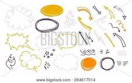 Vector Collection Of Hand Drawn Textured Sketch Doodle Elements - Text Balloons, Speech Bubbles, Tex