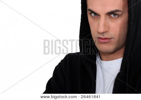 Moody man in hoodie
