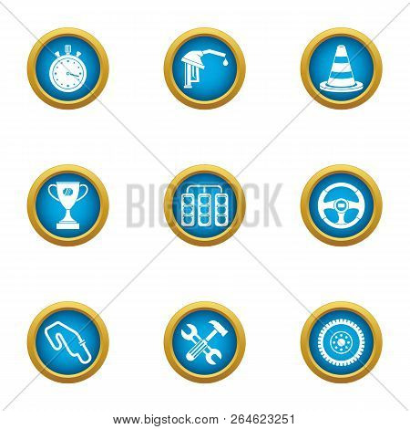 Race Circuit Icons Set. Flat Set Of 9 Race Circuit Vector Icons For Web Isolated On White Background