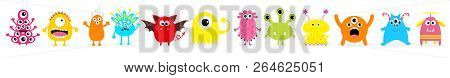 Happy Halloween. Cute Monster Icon Set. Standing In Line. Cartoon Colorful Scary Funny Character. Ey