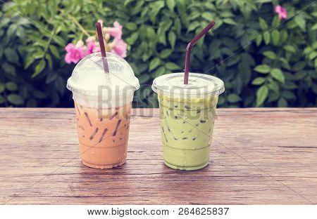 Thai Ice Tea Milk And Ice Green Tea At Cafe.