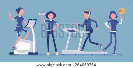 Women Fitness Club. Slim Attractive Ladies Doing Sport Exercise At Strength Training Equipment And W