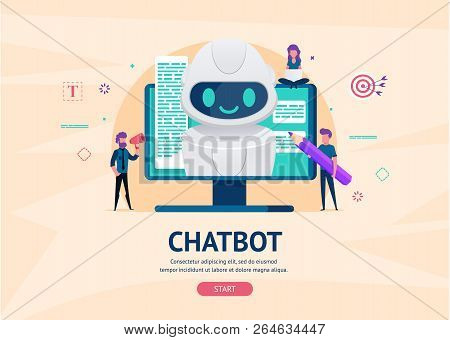 Chatbot Future Concept. Helping Bot Monitor Screen. Artificial Intelligence With Little People Chatt