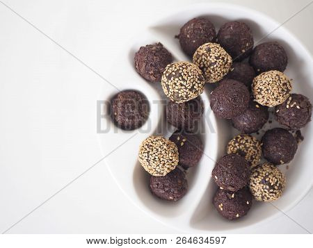 Raw Vegan Sweet Balls With Chocolate And Sesame