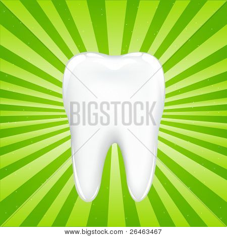 Tooth With Beams, On Green Background With Beams, Vector Illustration poster