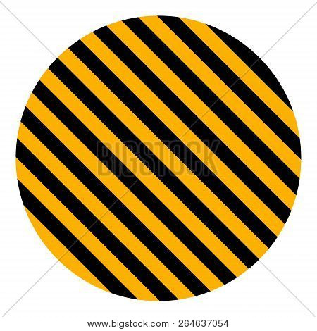 Circle With Yellow And Black Diagonal Stripes, Vector Safety Stripe Warning, Circle Warn Caution Con