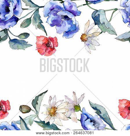 Watercolor Blue Bouquet Of Poppy Flower. Floral Botanical Flower. Frame Border Ornament Square.