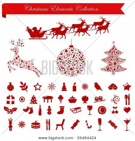 Collection Stylized Christmas Icons And Elements, Isolated On White Background, Vector Illustration