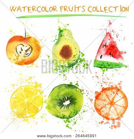 Set Of Fresh Fruit Watercolor Objects. Watercolored Apple, Citruses, Avocado And Qiwi In One Art Col