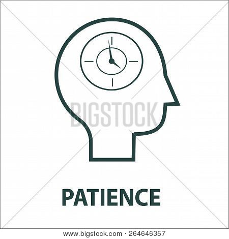 Patience Line Icon Isolatedd On White Background. Simple Element Vector Illustration. People Head Wi